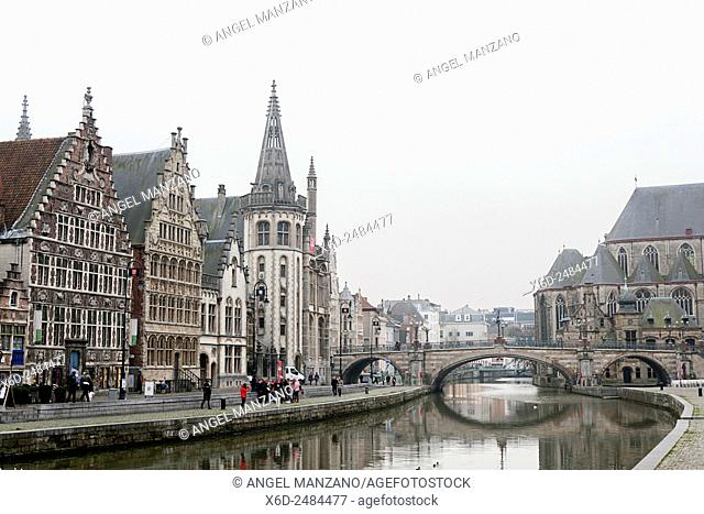 The Flemish city of Gent with its guild-houses and canals, Belgium