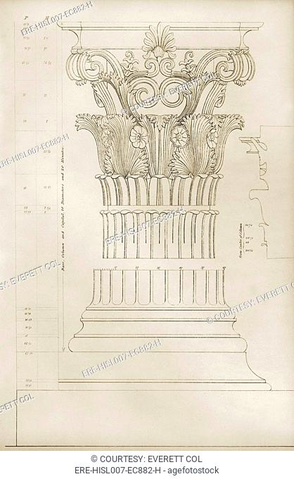 Column and capital of the Corinthian order from the monument of Lysicrates 335 B.C.. Classical Greek architecture formulated three orders of architecture