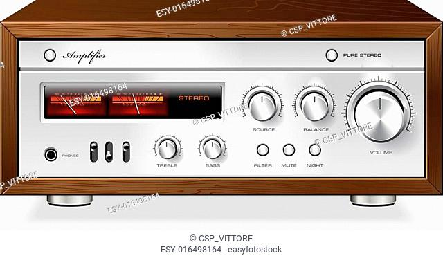 Vintage Hi-Fi analog Stereo Amplifier vector