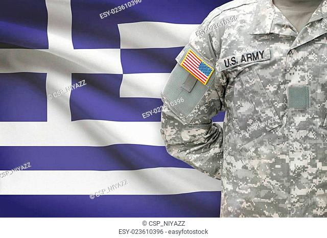 American soldier with flag on background - Greece - Hellenic Republic