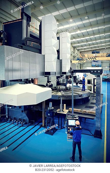 Machining Center.CNC. Vertical lathe manufactured oversized cast structure with all its hydrostatic guided. The course is self-centering, automatic Ø = 7000 mm