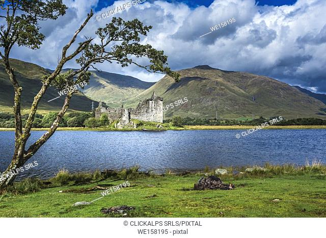 The ruin of Kilchurn Castle and mountains on Loch Awe, Scotland