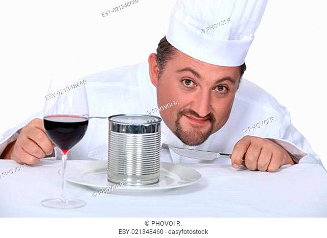 Chef with wine glass and tin of food