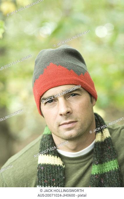 Portrait of a mature man wearing a knit hat