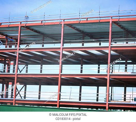 Steel framework, offices under construction