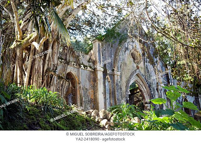 Monserrate Palace Gardens, Architectural Folly Ruins - Sintra Portugal