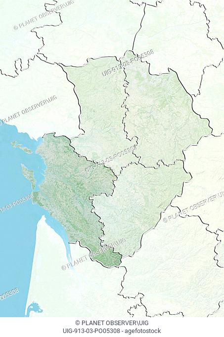 Departement of Charente-Maritime, France, Relief Map