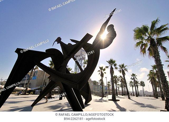 Steel sculpture 'Homenatge a la natació' by Alfredo Lanz. 2004. Mar square. Barceloneta neighborhood. Barcelona. Catalonia. Spain