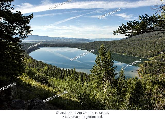 Phelps Lake in the Grand Tetons is a high mountain lake surrounded by forests