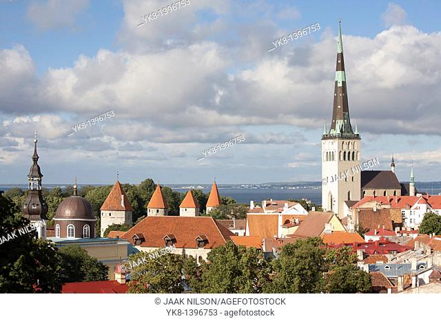 Towers of Old Medieval Tallinn and St. Olaf`s Church From Kohtuotsa Viewing Platform, Estonia