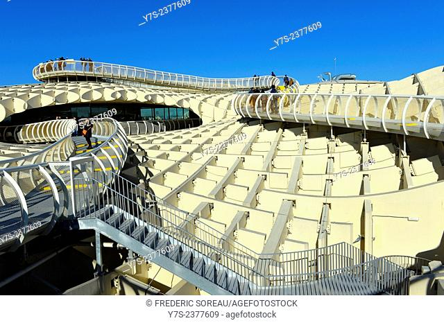 Metropol Parasol designed by the German architect Jurgen Mayer-Hermann is a wooden structure located at La Encarnacion square in the old quarter in Seville