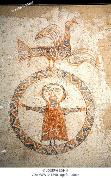 Early fresco images of Jesus in circle at Museum at Solsona, Cataluna, Spain, Museu Diocesà i Comarcal containing Romanesque paintings and local archeological...