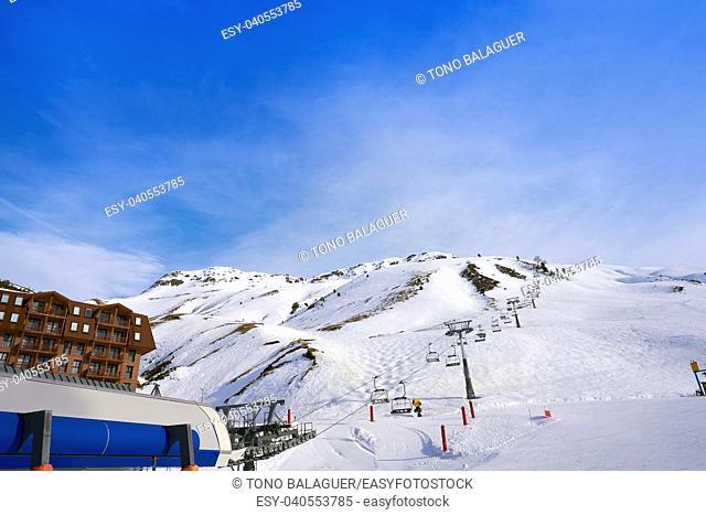 Astun ski area in Huesca on Pyrenees at Spain