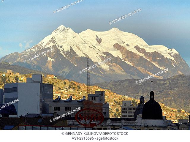 Illimani Mountain (6438m) seen from Bolivian capital of La Paz