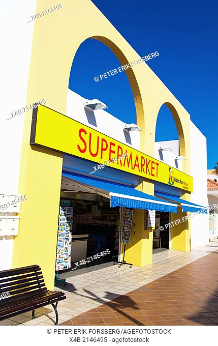 Hiperdino supermarket exterior,White Center shopping and restaurant complex, Caleta de Fuste, Fuerteventura, Canary Islands, Spain, Europe