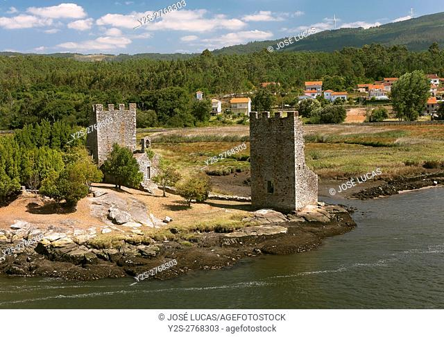 Ulla river and Torres del Oeste (also called Vikings), Catoira, Pontevedra province, Region of Galicia, Spain, Europe