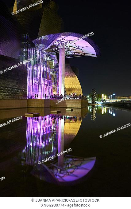 Guggenheim Museum at night with spectacular light, Bilbao, Biscay, Basque Country, Spain