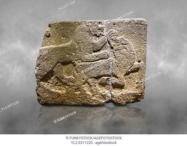 Hittite monumental relief sculpted orthostat stone panel of a Procession. Basalt, Karkamıs, (Kargamıs), Carchemish (Karkemish), 900-700 B. C