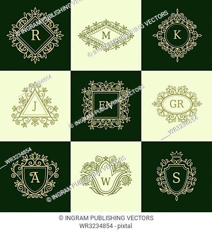 Set of Line Monograms. Vintage Floral Frames for your Logo, Invitation, Wedding Background