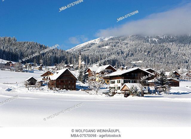 View of Protestant church in winter, Gosau, Salzkammergut region, Upper Austria, Austria