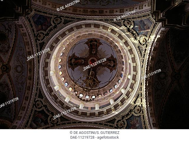 Interior of the dome of Saint Anthony of Padua church, 1895-1908, Aguascalientes, Mexico