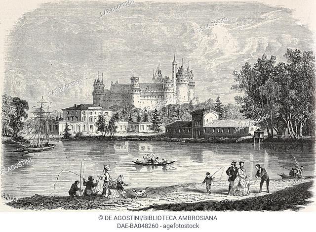 Pierrefonds thermal baths, France, illustration from L'Illustration, Journal Universel, No 1425, Volume LV, June 18, 1870
