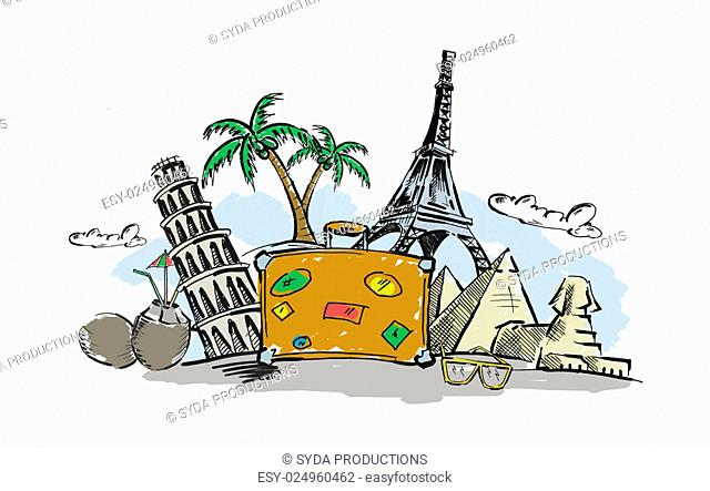 tourism, vacation, summer holidays, journey and trip concept - drawing of travel stuff and touristic landmarks