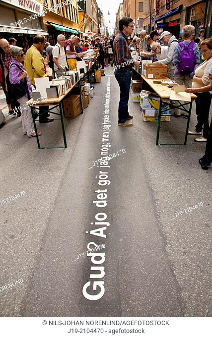 The world`s longest book table,Stockholm Sweden