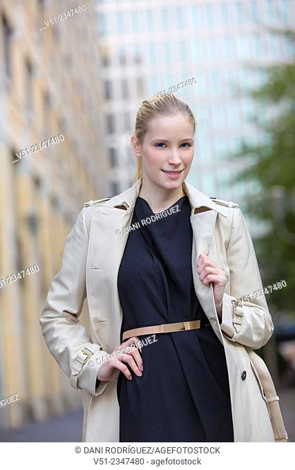 Portrait of a businesswoman in downtown looking at camera
