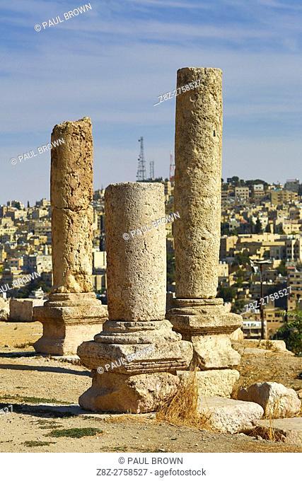 Pillar ruins in the Amman Citadel, Jabal Al-Qala, Amman, Jordan