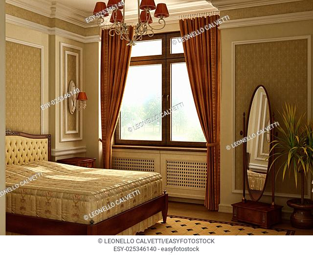 Classic antique style bedroom. With window