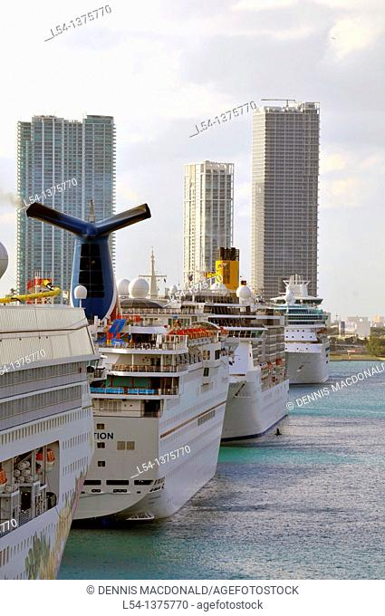 Cruise ships line harbor in Miami Florida