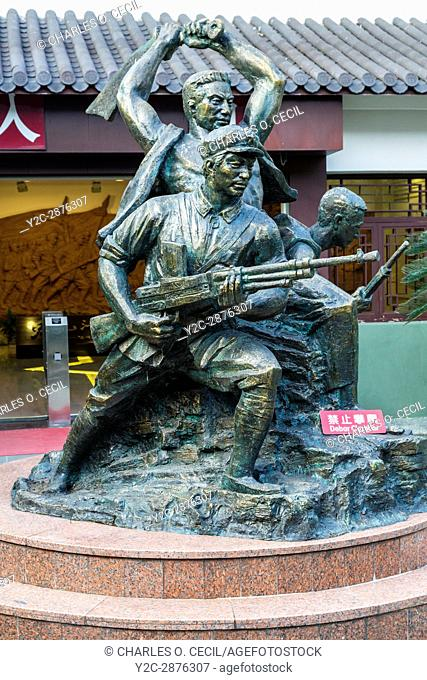Wenzhou, Zhejiang, China. Jiangxin Island. Statue in Honor of the 1949 Revolution, Museum of the Revolution