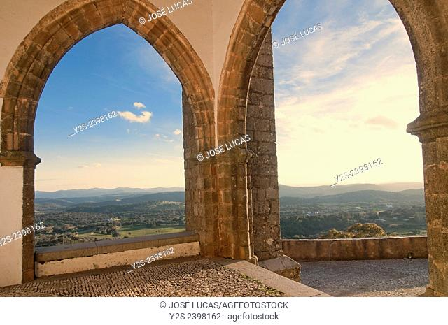 Priory Church of the Castle-15th century- and landscape, Aracena, Huelva province, Region of Andalusia, Spain, Europe