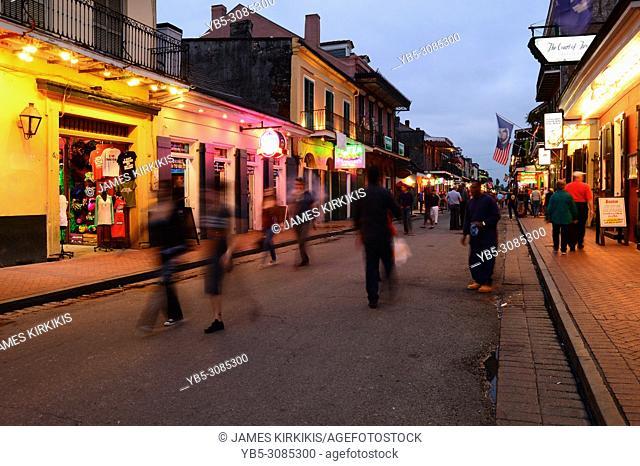 Dusk settles on Bourbon Street in the French Quarter of New Orleans