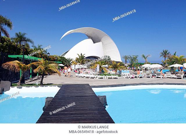 Baths Parque Maritimo and auditorium by Santiago Calatrava, Santa Cruz, Tenerife, Canary Islands, Spain