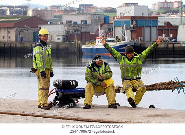 Merchant seaman in a harbour