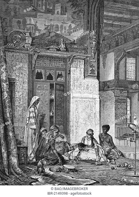 In a caliph's harem, historic wood engraving, ca. 1880