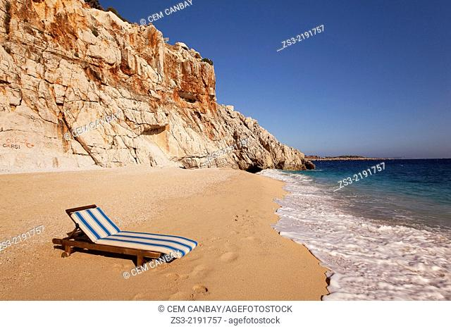 Sunbed on Kaputas beach, between Kalkan and Kas, Antalya Region, Turkish Riviera, Turkey, Europe