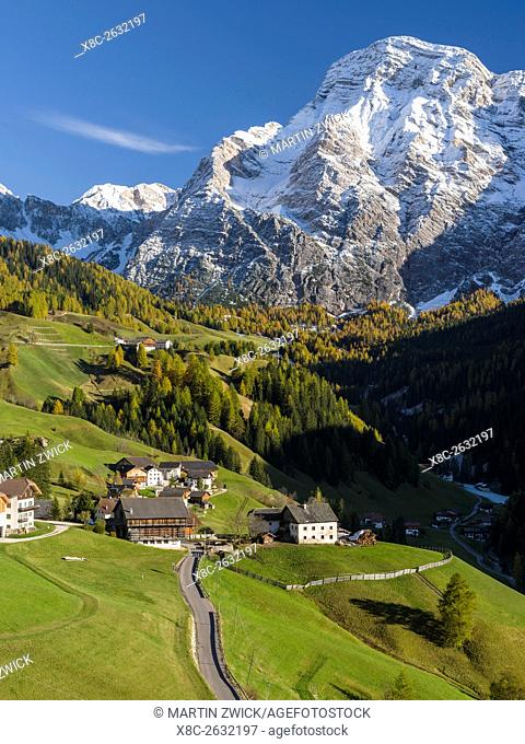 Wengen - La Valle, traditional mountain farms clustered in hamlets called Viles in Gader Valley - Val Badia in the Dolomites of South Tyrol - Alto Adige