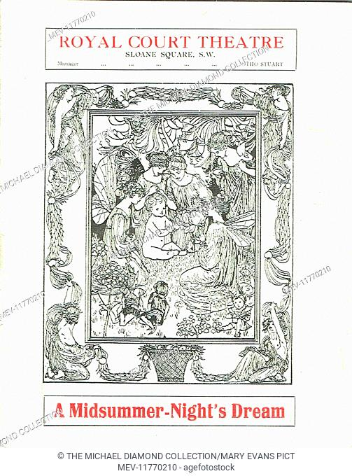 Cover page of a promotional flyer for A Midsummer-Night's Dream by William Shakespeare at the Royal Court Theatre, Sloane Square London, 1915
