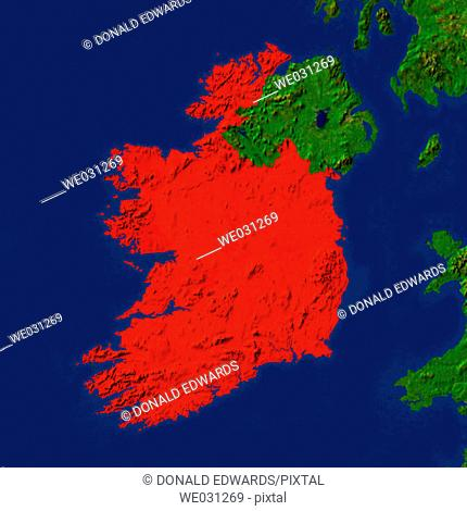 Highlighted satellite image of the Republic of Ireland