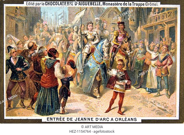 Entry of Joan of Arc into Orleans, 1429, (19th century). Joan of Arc leads the French army and defeats the English siege of the city of Orleans