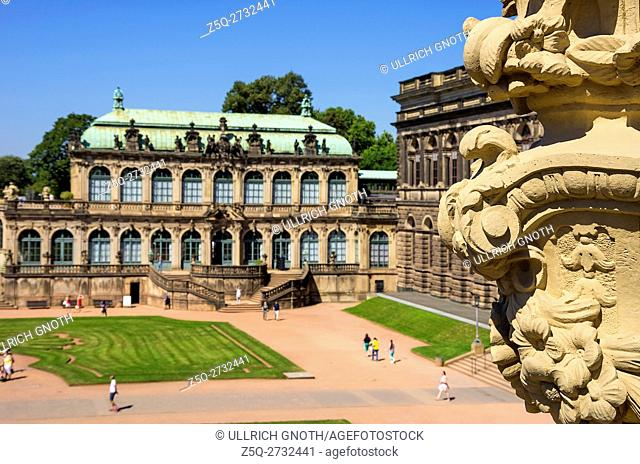 Overlooking the courtyard of the Zwinger Palace in the city of Dresden, Saxony, Germany