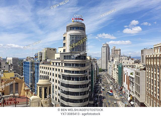 Schweppes building in La Gran Via,Madrid, Spain, Europe