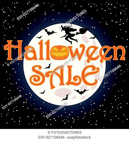 Happy Halloween sale shopping background, vector illustration