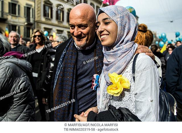 Actor Claudio Bisio during the Anti-racist march People Prima Le Persone. Milan, Italy 03-02-2019