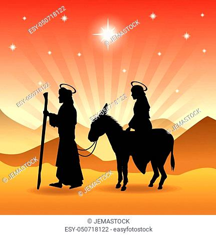 Merry Christmas and holy family concept represented by joseph, maria and donkey icon. Silhouette and flat illustration