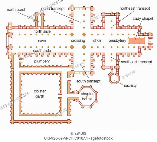 Floor plan of the Salisbury cathedral in Wiltshire, England, highlighting the location of the Lady chapel