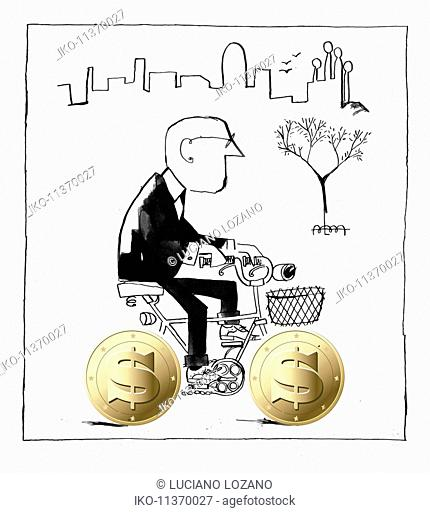 Businessman in suit riding bicycle with coin wheels